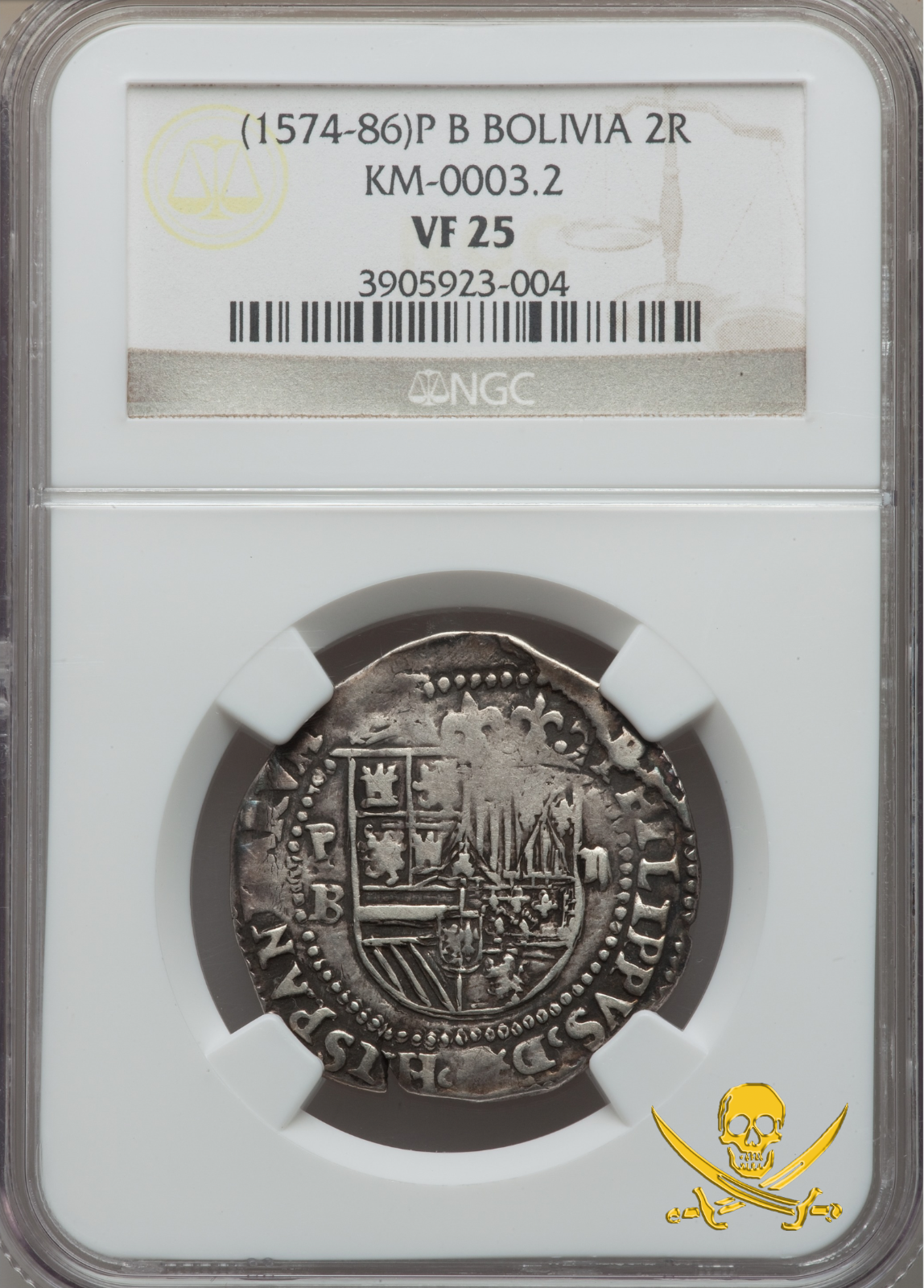 """BOLIVIA POTOSI 2 REALES 1574-86 NGC-25 """"FIRST YEAR ISSUE for Mint!"""" RARE SILVER"""