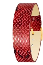 Moog Paris Red Calf Leather Bracelet for Women, Python Pattern, Pin Clas... - $46.65