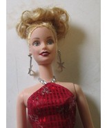 CE BARBIE Doll blonde up-do dangling earrings dressed 2000 red gown - $29.99