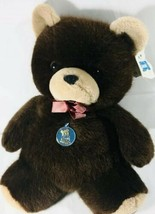 "Vtg Dakin Brown Teddy Bear Plush Stuffed Animal Vintage 15"" Valentine 1984 - $47.58"