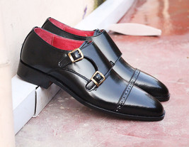 Handmade Men's Black Two Tone Double Monk Leather Shoes image 2