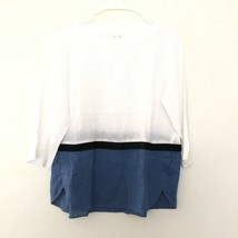 Love Linen J Jill Boxy Linen Pullover Colorblock Top Blouse White Blue S... - $23.99