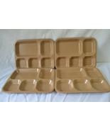 Lot of 4 1977 Halsey Inc. Vintage Melamine Cafeteria Divided Meal Trays USA - $69.99