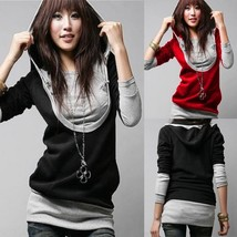 Women Long Sleeve Cotton Hoodie Sweatshirt Outwear Hooded Tops Pullover  - $45.70