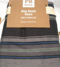 Pottery Barn Teen Baja Beach Pillow Sham 26x20 Stripe Black Gray Taupe Blue Gren - $23.75