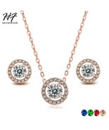 Classic Jewelry Sets For Women Round Micro Mosaic Cubic Zirconia Wedding... - $18.93
