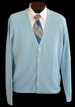 Vintage 90s Light Blue Grandpa Blue Cardigan Sweater Size Large to XLf - $49.99