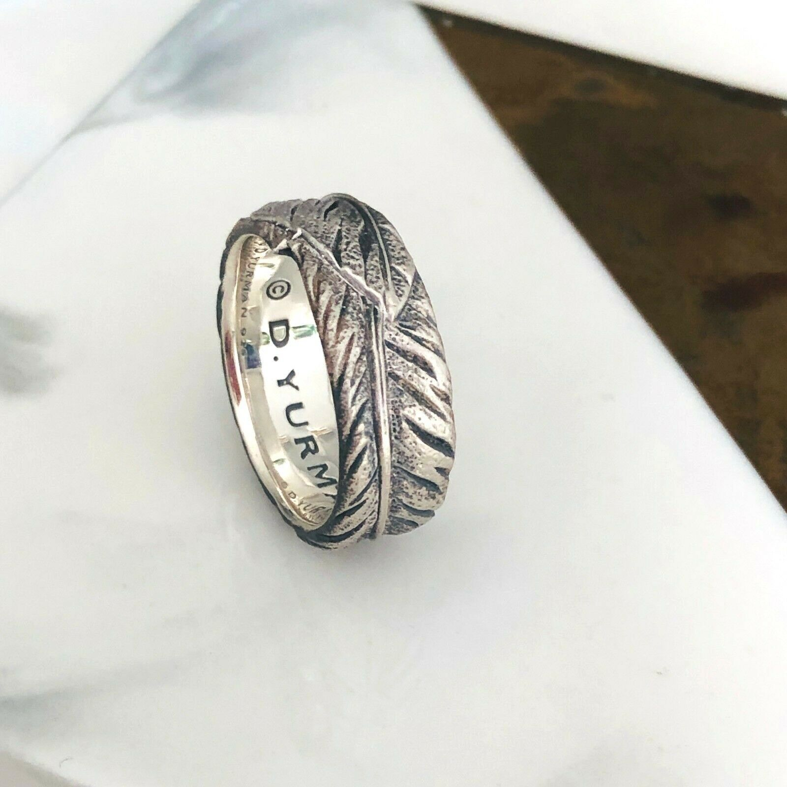 David Yurman Men's Silver Southwest Feather Band Ring Size 9 Authentic