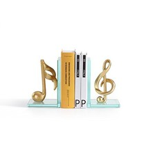 Danya B. DS840 Decorative Gold Musical Notes Glass Bookends for Musician... - $64.01