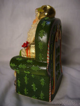 Vaillancourt Folk Art Gold Santa in Seat with Shopping Catalog Signed  image 2
