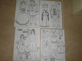 PUSS & BOOTS PAPER DOLL,PAT FREY 1977,B&W UNCUT. 2 DOLLS 7 OUTFITS - $5.51