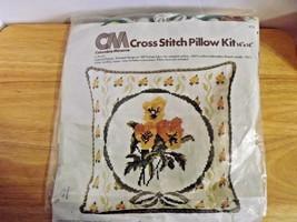 COLUMBIA MINERVA Vtg Cross Stitch Pillow Kit #6735 Colonial Pansies 1976 - $21.24