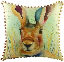 "Luxury Evans Lichfield Portrait Hare Pom Pom Linen Look Cushion Cover 17"" - $20.82"