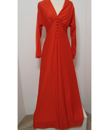 Vintage Great Shape ILGWU Red Jersey Stretch Bias Cut Faux Button Maxi D... - $134.99