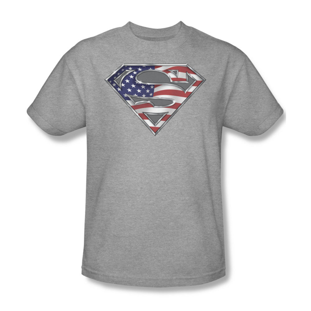 Sm1123 at icon superhero tee superman logo shield american flag for sale online graphic tshirt