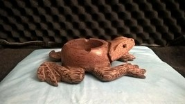 Wooden Frog Ashtray, Holder, Candle, approx 6 inches - $16.82