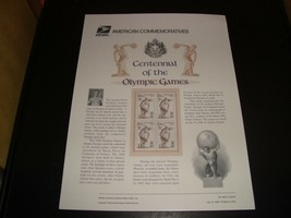 Centennial Of The Olympic Games #3087 USPS Commemorative Stamp Panel #49... - $7.19