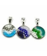 3 Pendants, Disco Murano Glass, Diameter 16 MM, Murrine, Silver 925 - $58.58