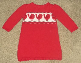 Gymboree Cozy Cabin Cardinal Bird Red Sweater Dress Size 6-12 6 12 Months - $12.19