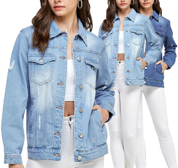 Women's Classic Casual Cotton Lightweight Distressed Denim Button Up Jean Jacket