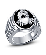 Cancer Zodiac Mens Wedding Anniversary Diamond Pinky Ring in 925 Sterlin... - £86.26 GBP