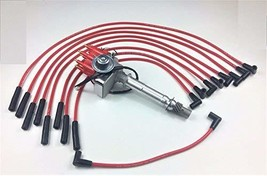 A-Team Performance SBC 350 SMALL CAP DISTRIBUTOR COIL + RED 8mm SPARK PLUG WIRES