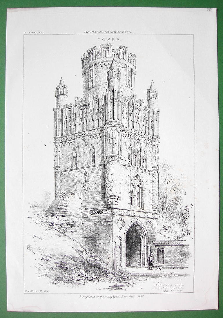 ARCHITECTURE PRINT : Germany Prussia Uengliner Tower in Stendal