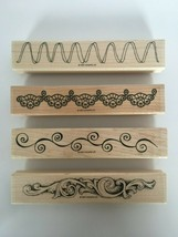 Stampin Up Background and Borders Mounted Stamp Set of 4 Card Making Cra... - $13.50
