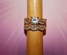Clear Rhinestone Bling - Gold Tone Stretch Ring - Paparazzi Jewelry - New Gift - $7.82