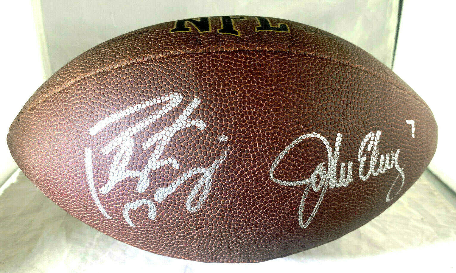 MANNING & ELWAY / AUTOGRAPHED WILSON BRAND FULL SIZE NFL FOOTBALL / PLAYER HOLOS