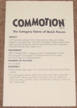 COMMOTION CATEGORY GAME 1990 PARKER BROTHERS COMPLETE EXCELLENT - $25.00