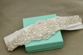 Vintage Style Pearl Rhinestone Crystal Wedding Gown Cream Satin Ribbon S... - $28.97