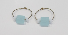 handmade gold hoop earrings with blue and white beads - $9.00