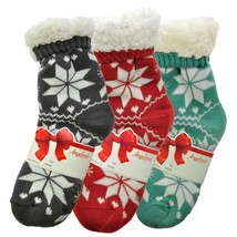 Angelina Women's 3 Pack Christmas Sherpa Lined Thermal Socks with Gift Tags image 2