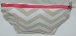 Ganz Brand ER39002 Style 101 Chevron Design Beige Tan Pink Zipper Makeup Bag image 3