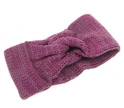 Fashion Knitted Headband Crochet Bow Hair Wrap, Burgundy
