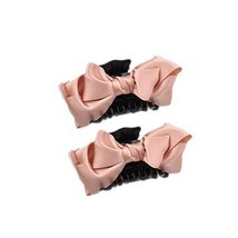 [Set Of 2]Handmade Mesh Bowknot Jaw Clip Hair Styling Claws, 3.7 inches,ORANGE