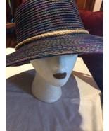 Vintage Style New Navy Rainbow Woven Straw Wide Brim Sun Hat - $35.63