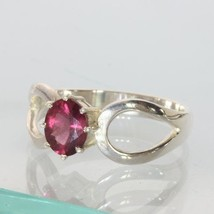 Pinkish Red Rubellite Tourmaline Oval Handmade Ladies 925 Silver Ring size 8.5 - £50.71 GBP