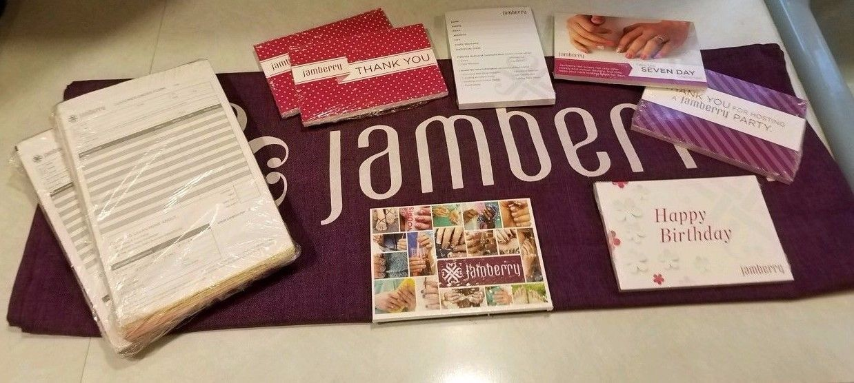 Lot of New Jamberry Consultant Business Supplies with Jamberry Table Runner