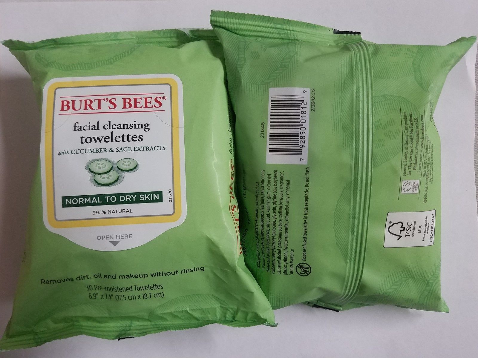 Burt's Bees Facial Cleansing Towelettes Cucumber & Sage Normal-Dry 30 Count x2 image 5