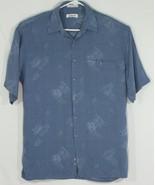 Pierre Cardin Mens Medium Button Up Hawaiian Shirt Blue/Gray Palm Leaves... - $28.05