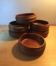 Set of 6 Vintage 60s Kalmar teak wood salad bowls