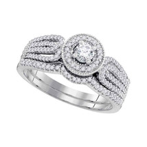 10k White Gold Round Diamond Bridal Wedding Engagement Ring Band Set 1/2 Cttw - £636.87 GBP