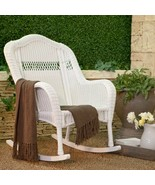 South Bay Traditional White Wicker Rocking Chair Patio Porch Rocker Outd... - $259.92