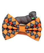 """Orange Argyle Bows for dog collars, Cat Bow Tie, 3"""" 4"""" or 5"""" long, Fall ... - $5.25+"""