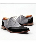 Handmade men's Black Gray Leather Suede Shoes, Men Lace up Wing tip Fash... - $159.97+