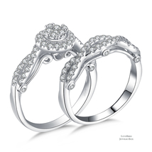 Cluster Halo Infinity Accent 925 Silver Cubic Zirconia Engagement Ring Set - $55.12