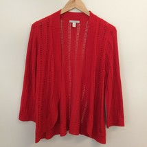 Dana Buchman Womens Open Knit Cardigan Sweater Top Red Size S - $14.99
