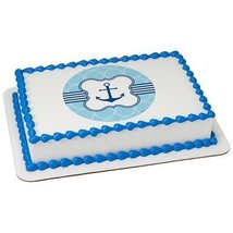 "6"" Round Anchor Baby BoyEdible Frosting Cake Topper - $10.50"